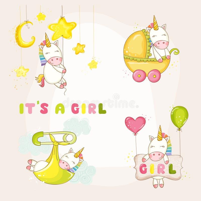 Dziecko jednorożec Ustawiająca - dziecko prysznic lub Przyjazdowa karta ilustracji