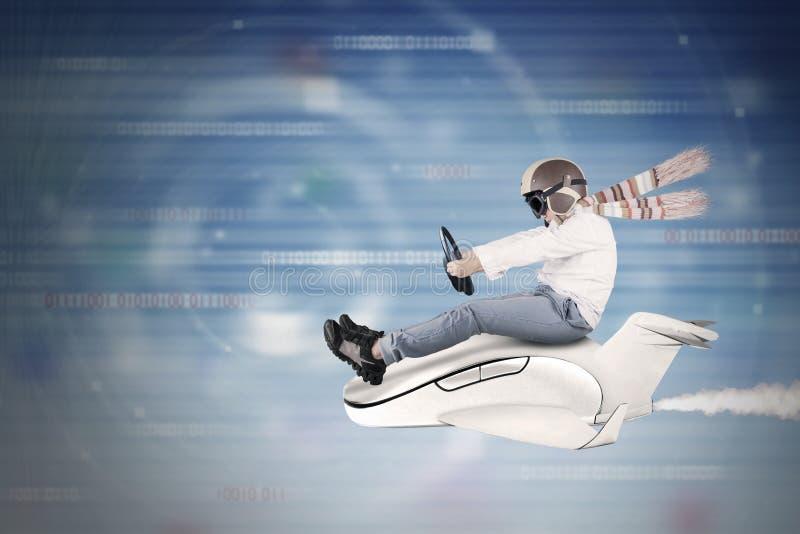 Dziecko jedzie małego samolot wśrodku cyberprzestrzeni zdjęcie royalty free