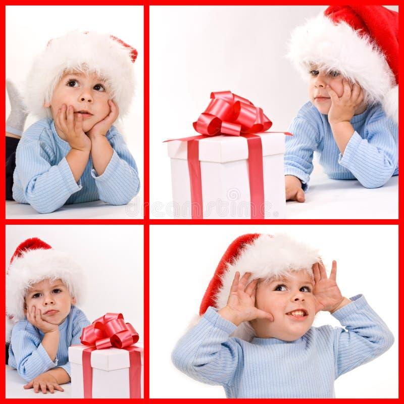 dziecko kapelusz Santa zdjęcia royalty free