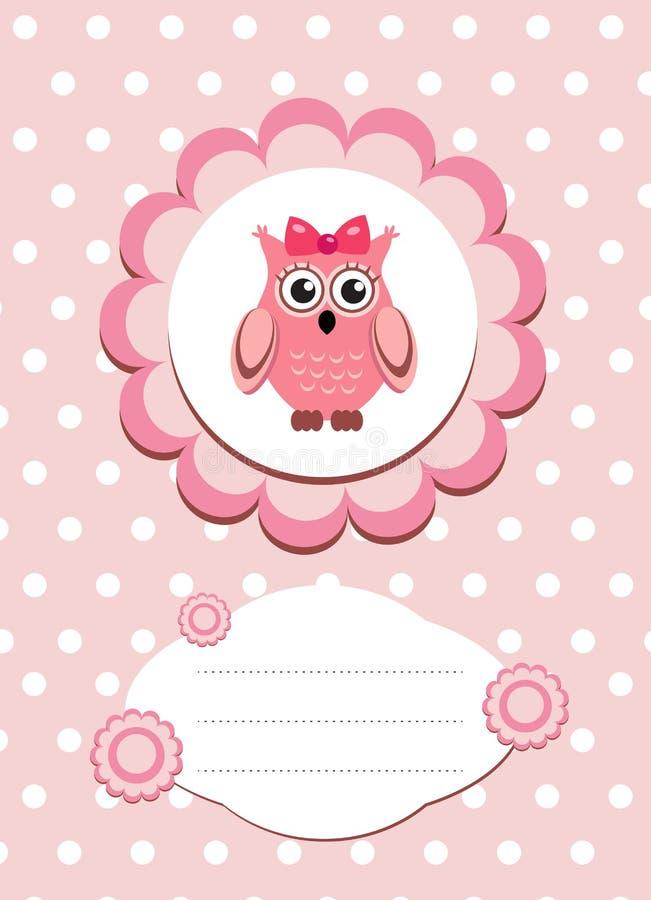 Dziecko karciana śliczna sowa, dziecko sowy zaproszenie, rama dla teksta ślicznego zwierzęcia, kreskówki sowy wektoru ilustracja ilustracja wektor