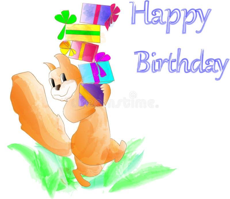 Dziecko kartki z pozdrowieniami urodzinowy wizerunek dla małej wiewiórki royalty ilustracja