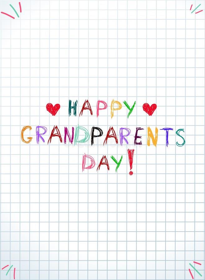 Dziecko kolorowej ręki dziadków rysunkowy wpisowy szczęśliwy dzień na notatniku obciosywał prześcieradło ilustracja wektor