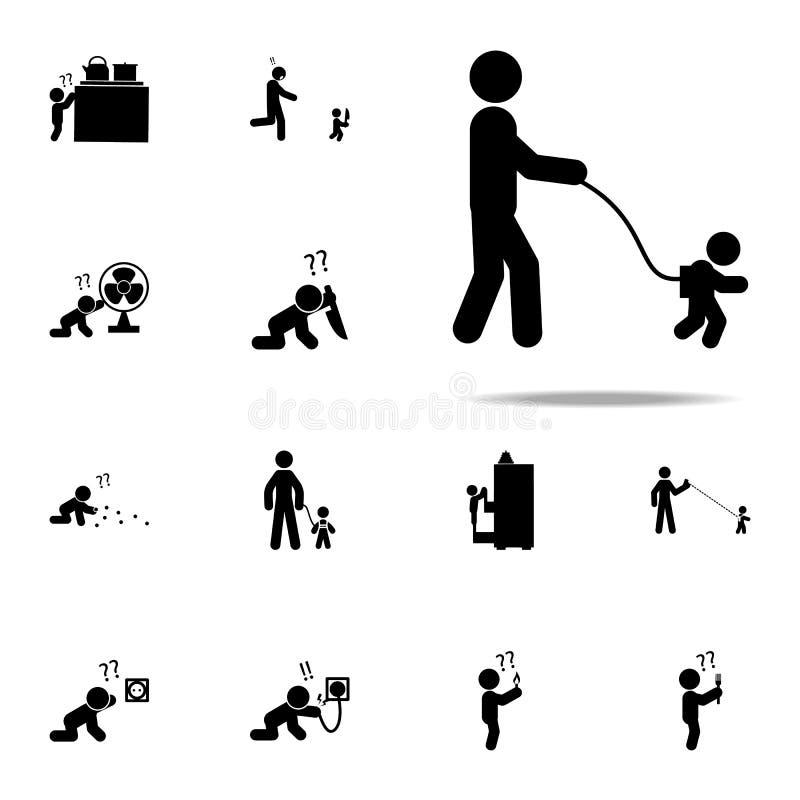 dziecko, kontrola, spacer ikona Dziecko ikon ogólnoludzki ustawiający dla sieci i wiszącej ozdoby ilustracja wektor