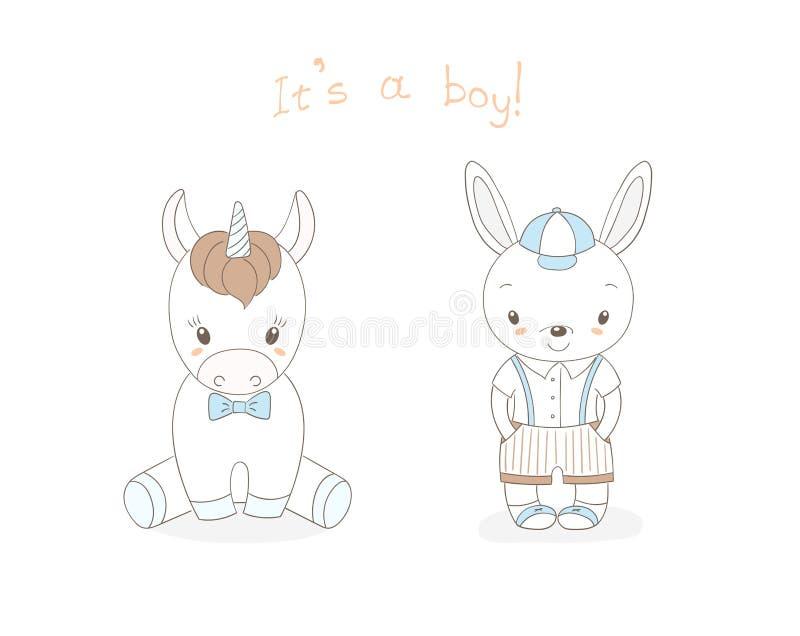 Dziecko królika chłopiec i dziecko jednorożec chłopiec ilustracja wektor