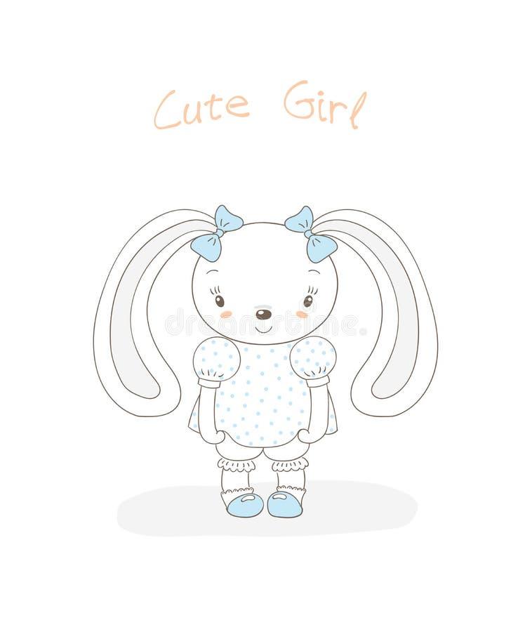Dziecko królika dziewczyna ilustracja wektor