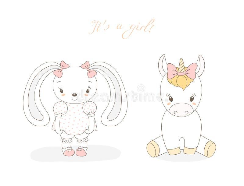 Dziecko królika dziewczyna i dziecko jednorożec dziewczyna ilustracji