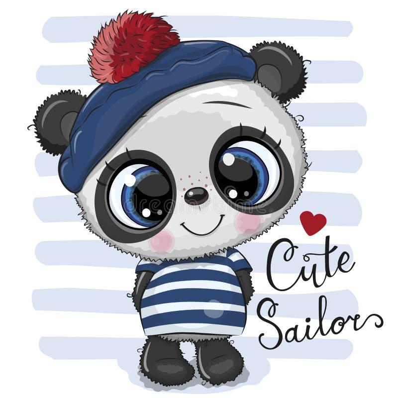 Dziecko kreskówki panda w żeglarza kostiumu royalty ilustracja