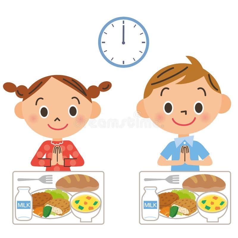 Dziecko który je lunch royalty ilustracja