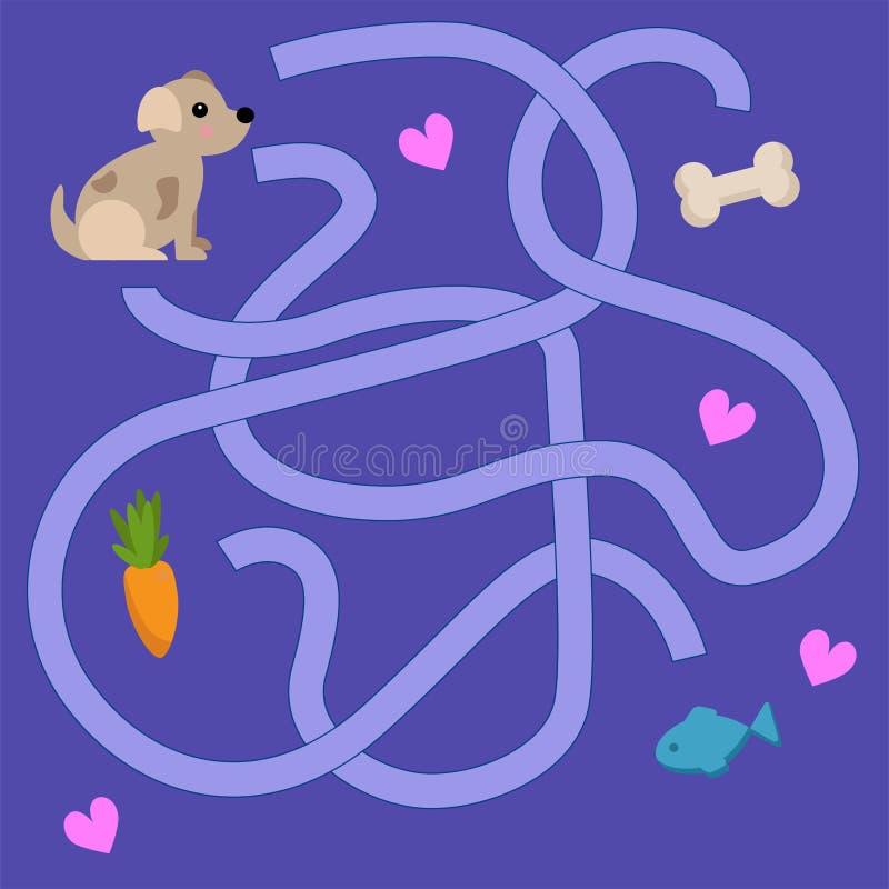 Dziecko labirynt z zwierzętami Sympatia wektoru ilustracja ilustracji