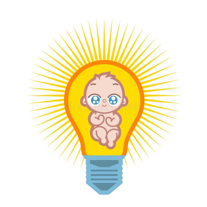 Dziecko lampa ilustracji
