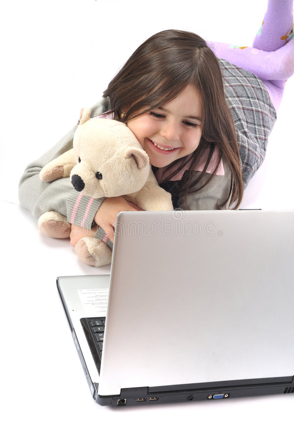 dziecko laptop zdjęcia stock