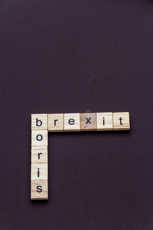 Dziecko list blokuje literować Boris i Brexit, jak crossword, portret, copyspace zdjęcia stock