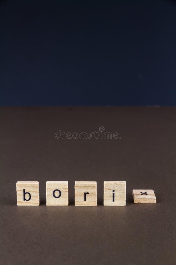 Dziecko list blokuje literować Boris z S spadać, portret zdjęcie royalty free