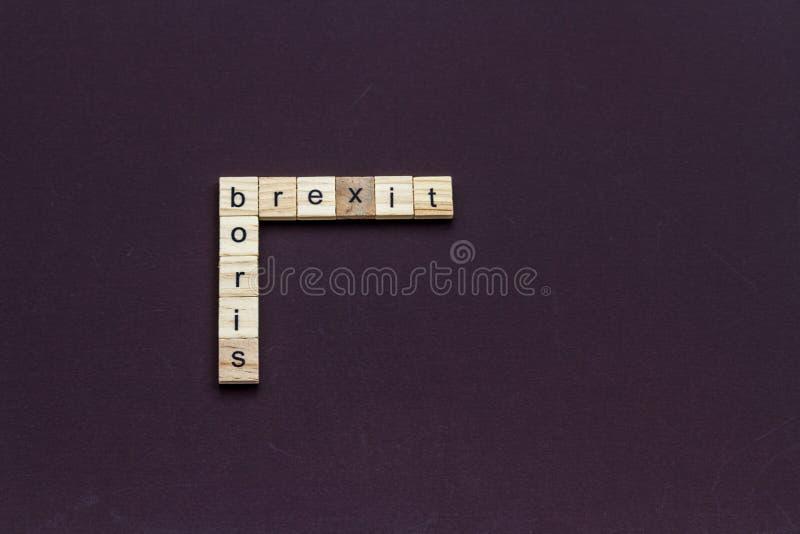 Dziecko listu bloki literuje Boris i Brexit, jak crossword, krajobraz, copyspace obraz royalty free