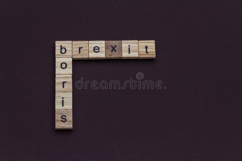 Dziecko listu bloki literuje Boris i Brexit, jak crossword, krajobraz zdjęcia royalty free
