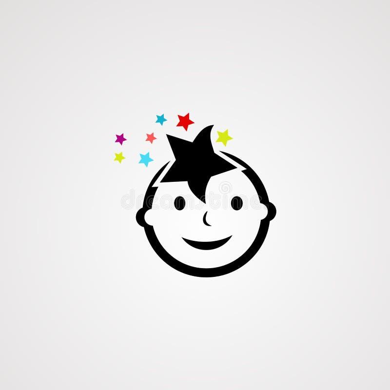 Dziecko logo gwiazdowy wektor, ikona, element i szablon, royalty ilustracja