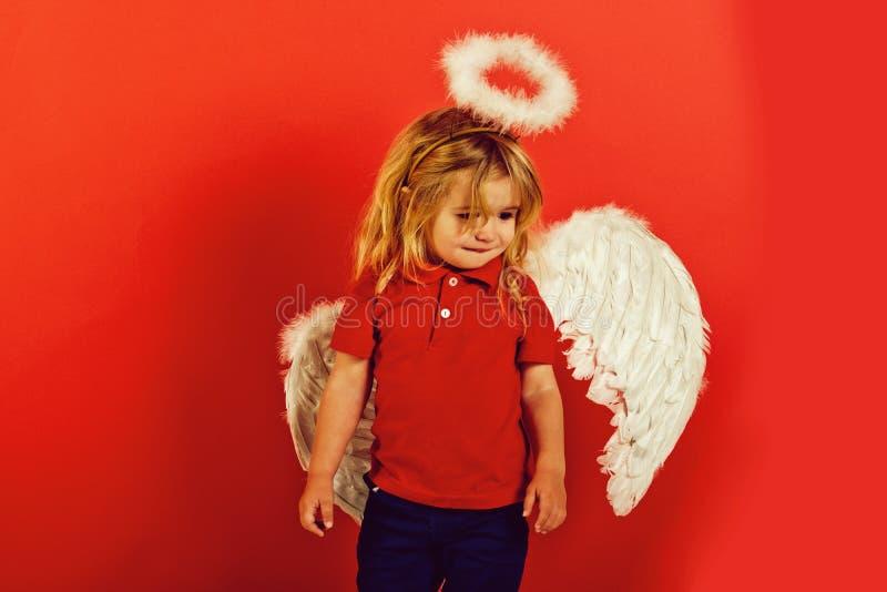 Dziecko lub mała anioł chłopiec z piórkowymi skrzydłami, halo obrazy royalty free