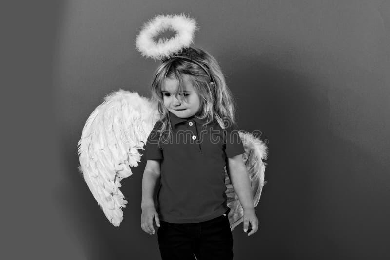 Dziecko lub mała anioł chłopiec z piórkowymi skrzydłami, halo zdjęcia stock