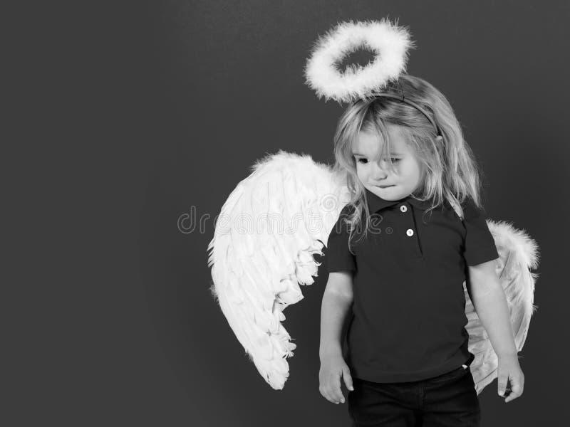 Dziecko lub mała anioł chłopiec z piórkowymi skrzydłami, halo zdjęcia royalty free