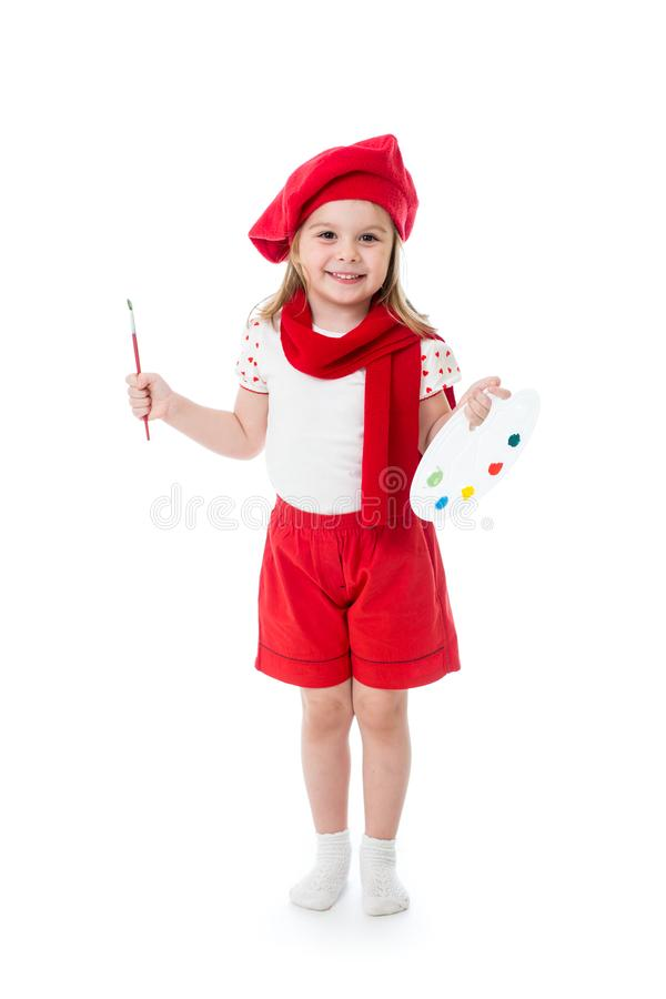 Dziecko mała dziewczynka w artysty kostiumu z paintbrush i paletą fotografia royalty free