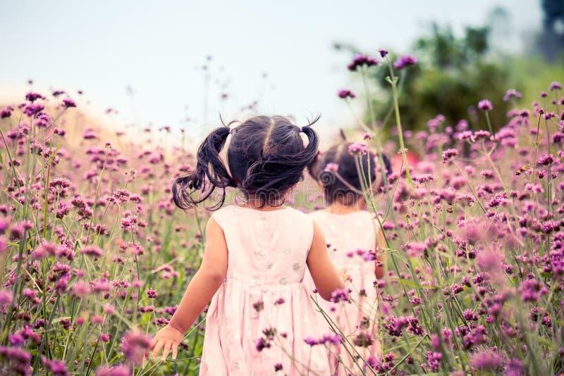Dziecko małej dziewczynki szczęśliwy bieg i mieć zabawa w polu zdjęcie stock