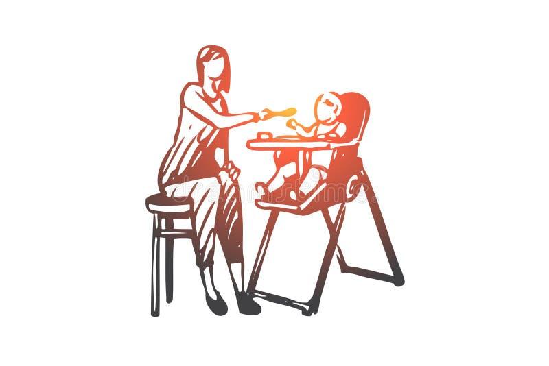Dziecko, mama, jedzenie, łyżka, karmy pojęcie Ręka rysujący odosobniony wektor royalty ilustracja