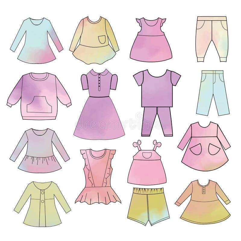 Dziecko mody akwareli inkasowa r?ka rysuj?cy t?o royalty ilustracja