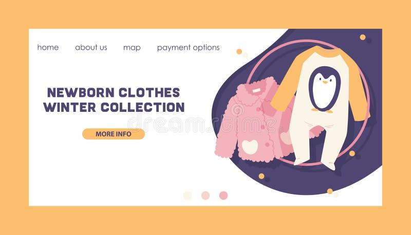 Dziecko mody dzieciaków zimy ubraniowa wektorowa kolekcja odzieżowy strona internetowa projekt i nowonarodzony szaty dziecka body ilustracja wektor