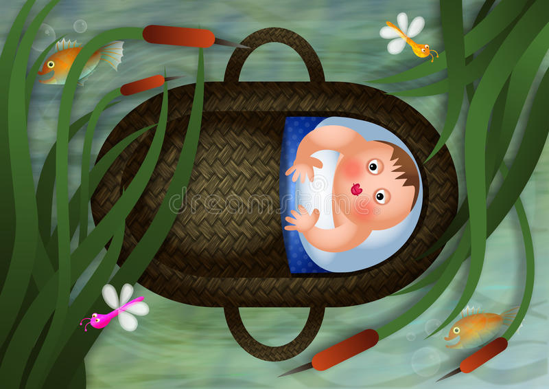 Dziecko Mojżesz w koszu royalty ilustracja