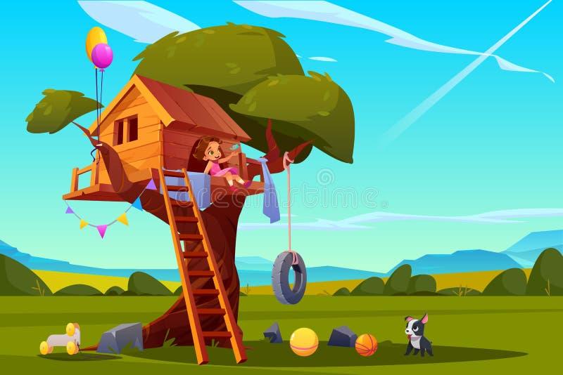 Dziecko na drzewnym domu, dziewczyna bawić się na boisku ilustracja wektor