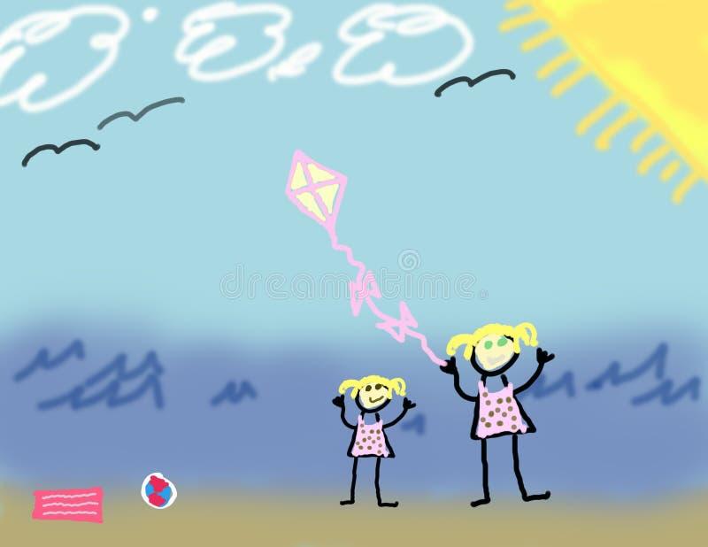 dziecko na plaży zwraca się razem lubi royalty ilustracja