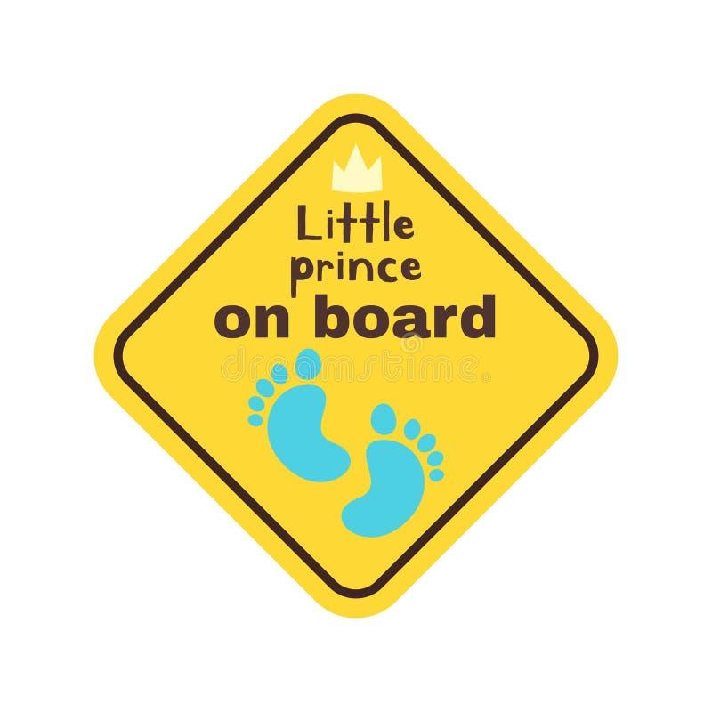 Dziecko na pokładzie zbawczego znaka royalty ilustracja