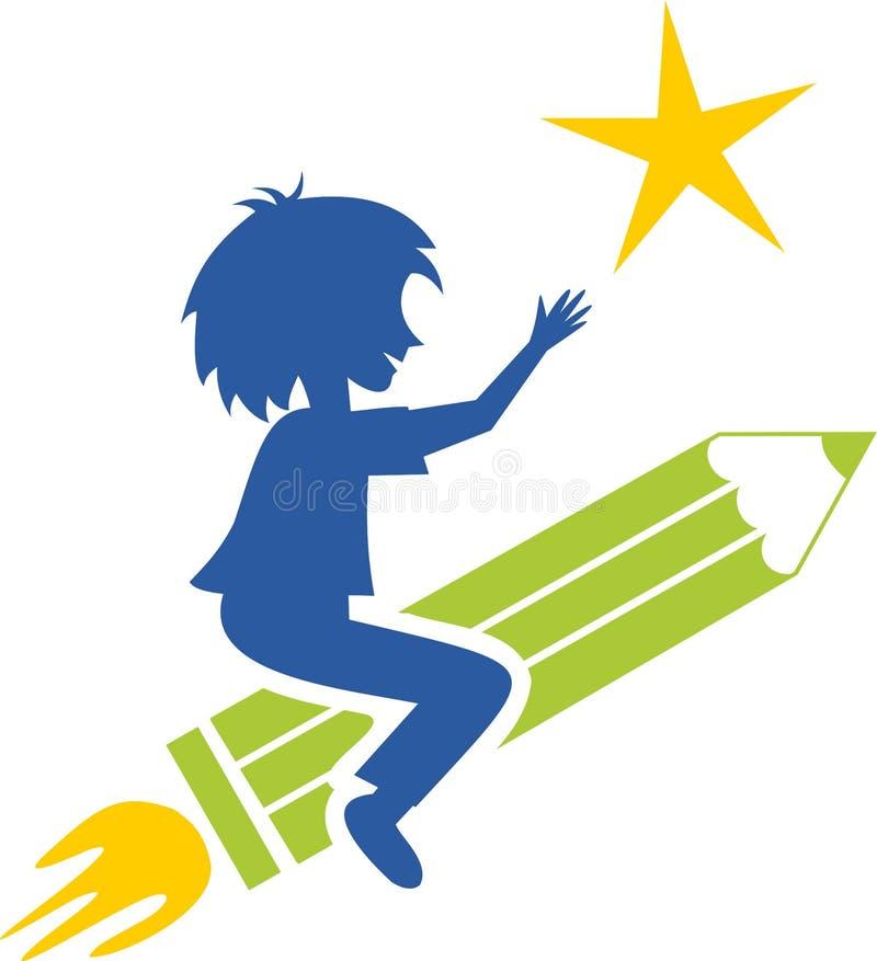 Dziecko na rakiecie royalty ilustracja