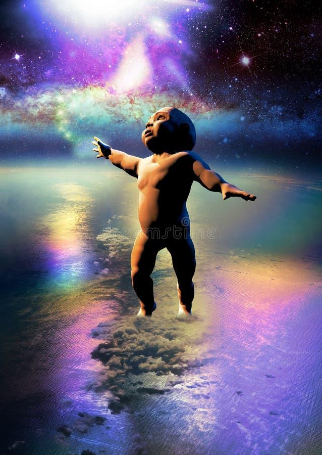 Dziecko na Ziemskim macaniu gwiazdy ilustracja wektor