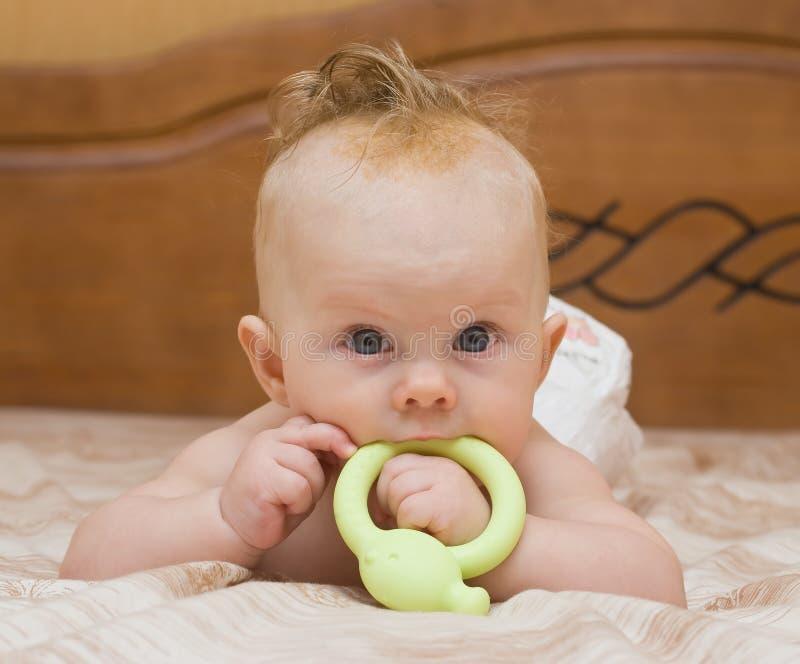 dziecko nadgryza lateksowego teether fotografia royalty free