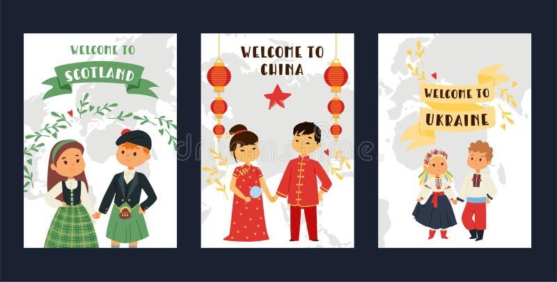 Dziecko narodowości dzieciaków wektorowi charaktery w tradycyjnej kostiumowej obywatel sukni Porcelanowa Ukraina Szkocja kultura ilustracji