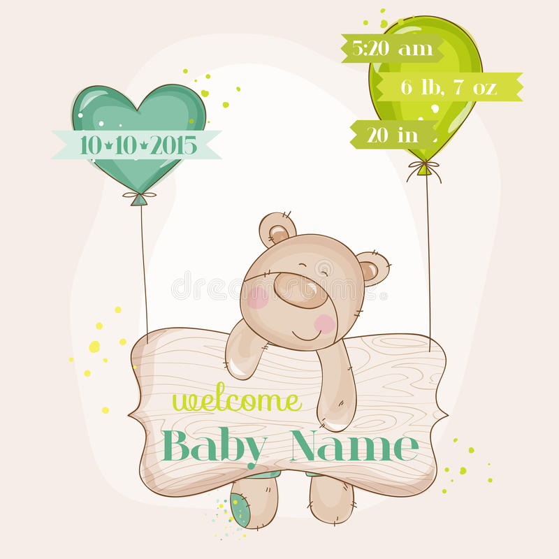 Dziecko niedźwiedź z balonami royalty ilustracja