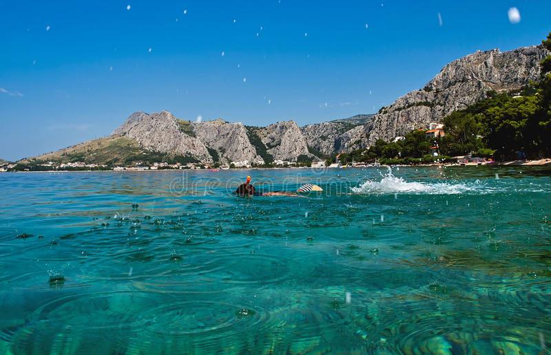 Dziecko nurek, snorkel fotografia royalty free