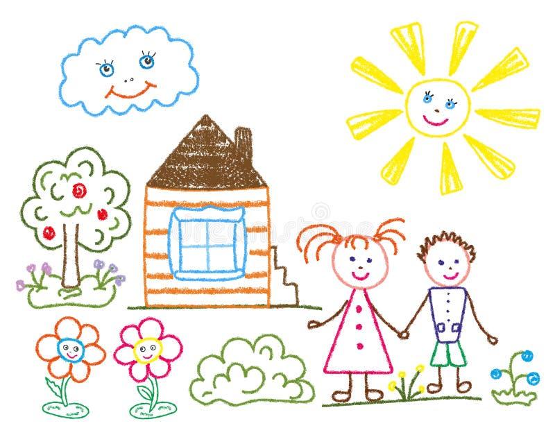 Dziecko ołówkowy rysunek na temacie lato, przyjaźń, rodzina ilustracji