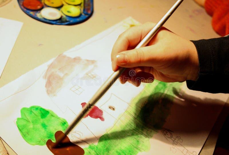 Dziecko obraz z akwarelą zdjęcie royalty free