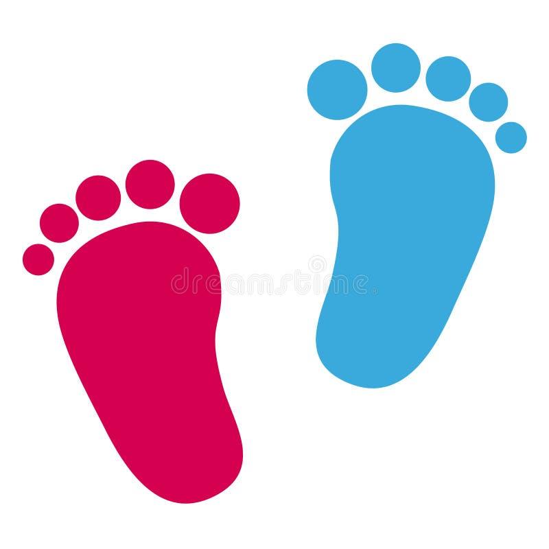 Dziecko odcisk stopy - dziewczyny I chłopiec ikony royalty ilustracja