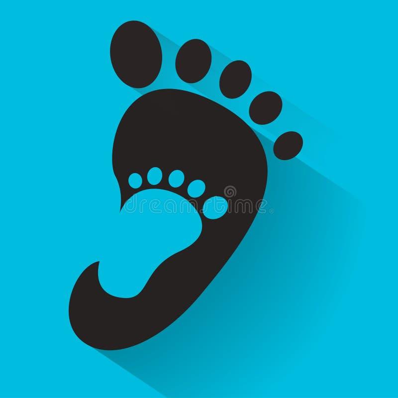 Dziecko odcisk stopy w dorosłej nożnej ikonie Żartuje buta sklepu ikonę Rodzina znak Rodzica i dziecka symbol Adopcja emblemat Do ilustracji