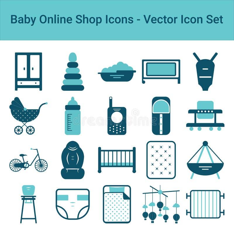 Dziecko Online Sklepowe ikony Na Białym tle kartonowe koloru ikony ustawiać oznaczają wektor trzy ilustracji