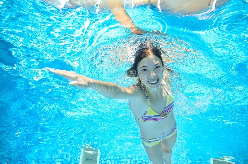 Download Dziecko Pływa W Basenie Podwodnym, Dziewczyna Zabawę W Wodzie Obraz Stock - Obraz złożonej z ludzie, twarz: 57653103