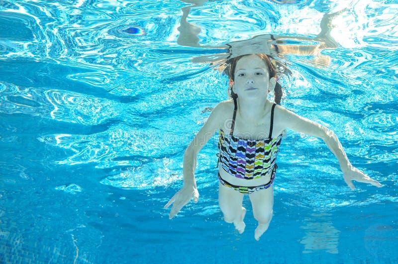 Download Dziecko Pływa W Basenie Podwodnym, Dziewczyna Zabawę W Wodzie Obraz Stock - Obraz złożonej z dzieciaki, lato: 57658291