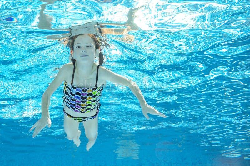 Download Dziecko Pływa W Basenie Podwodnym, Dziewczyna Zabawę W Wodzie Obraz Stock - Obraz złożonej z lato, pluśnięcie: 57658449