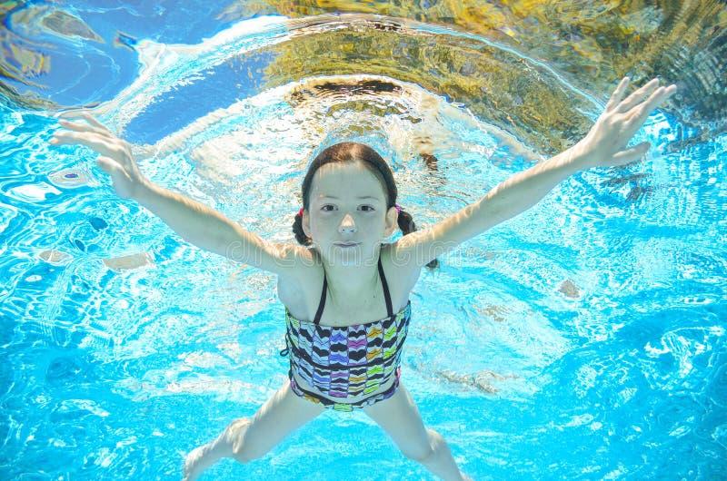Download Dziecko Pływa W Basenie Podwodnym, Dziewczyna Zabawę W Wodzie Obraz Stock - Obraz złożonej z pływanie, joyce: 57658767