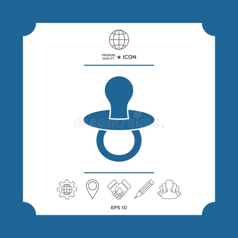 Dziecko pacyfikator - ikona ilustracji