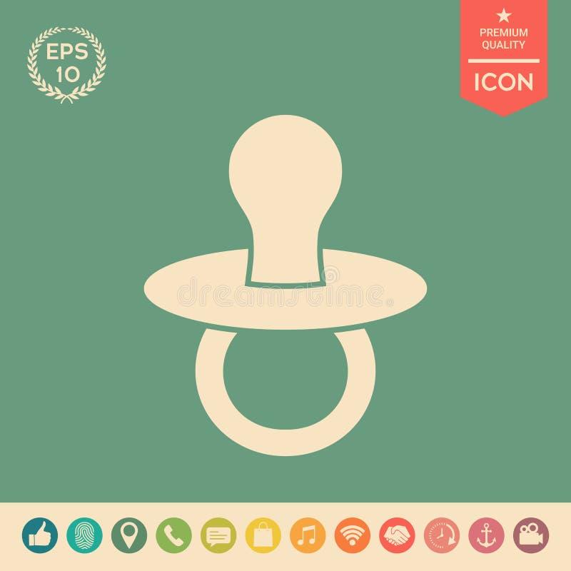 Dziecko pacyfikator - ikona ilustracja wektor