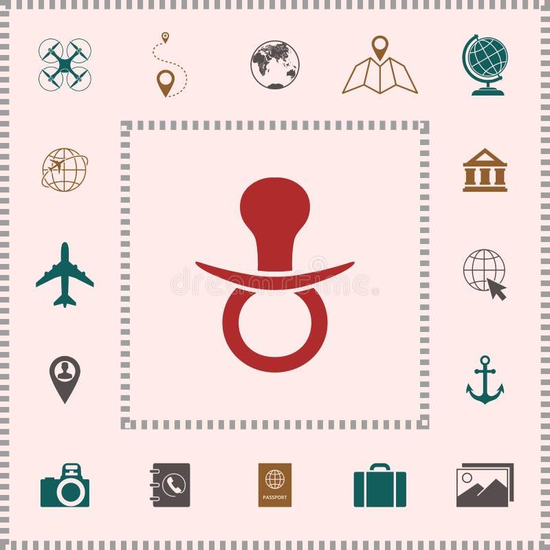 Dziecko pacyfikatoru ikona ilustracji